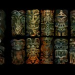 Emily Carr style totem poles for a segment in Vancouver 2010 Opening Ceremony